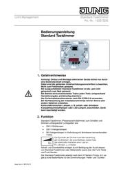 JUNG Insert Dimmer LS 990, AS 500, CD 500, LS design, LS plus, FD design, A 500, A plus, A creation, CD plus, SL 500 1 1225SDE User Manual