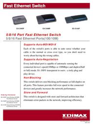 Edimax 5 Ports 10/100Mbps Desktop Switch ES-3105P Leaflet