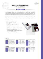 Canson Infinity Rag Photographique 210 6211026 Leaflet
