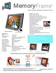 "Digital Spectrum MF-8115 Premium - Wireless Digital Frame - 15"" U-40118 Leaflet"