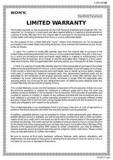 Sony PEGA-BC10 Informations De Garantie