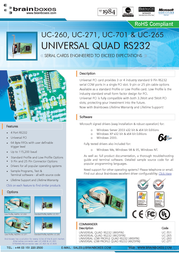 Brainboxes Universal 4-Port RS232 PCI Card UC-260 User Manual