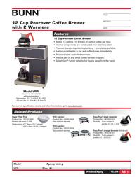 Bunn VPR Coffee Brewer VPR Leaflet