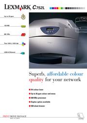 Lexmark C752Ldn NL FR 128MB 19ppm 1200dpi A4 19C0162 Leaflet