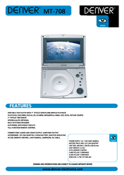 Denver Portable DVD Player MT-708 MT708 Leaflet