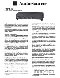 AudioSource Portable Stereo System 4 Zone Stereo Speaker Selector Leaflet