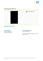 Vzug GK26TIMS 84A337 Data Sheet