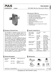 Puls YR2.DIODE Redundancy Module Specification Guide