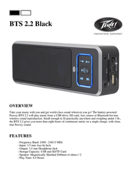 Peavey Electronics BTS 2.2 Black 03017000 Leaflet
