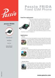 Possio FRIDA Fixed GSM Phone QEQU 00070/01 Leaflet
