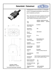 Kalthoff Hot wire connector Socket, straight Total number of pins: 2 + PE 16 A Black, White 1 pc(s) 840016 Data Sheet