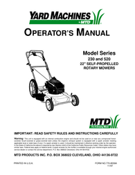 Yard Machines 230 User Manual