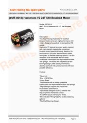 YeahRacing MT-0013 Leaflet