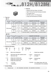 Song Chuan 812H-1CCEF 24 PCB Mount Relay 24 V/DC 10A 1 CO, SPDT 812H-1CCEF 24 Data Sheet
