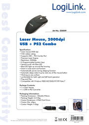 LogiLink Mouse Laser USB + PS/2 with LED ID0009 Data Sheet