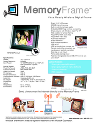 "Digital Spectrum MF-8104 Premium - Wireless Digital Frame - 10.4"" U-40101 Leaflet"