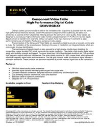 Offspring Technologies GoldX® PlusSeries® Hi-Def Component Video Cable 12 Feet GXAV-RGB-12 Leaflet