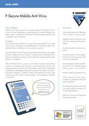 F-SECURE Mobile Anti Virus FMAV12VR001DE Data Sheet