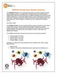 HEXBUG Scarab Micro Robotic Creature HB2248 Data Sheet