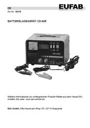 Eufab Industrial charger Werkstattladegerät 12/24V Startfunktion 16519 User Manual