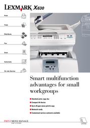 Lexmark X630 MFP 20R0059 Leaflet