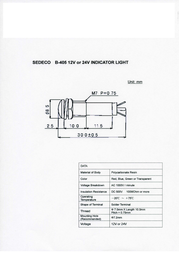 Sedeco Standard Signal lighting Green B-405, 12V, GREEN Data Sheet