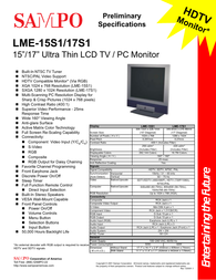 Sampo lme-15s1 Specification Guide