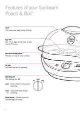 Sunbeam EC1300 Poach /& Boil™ Egg Cooker with Poaching Tray and Egg Rack Included