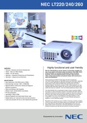 NEC MultiSync LT220 50022350 Leaflet