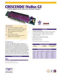 Sonnet Crescendo G3 NuBus 477-500MHz 1MB 2.2V CFG3-500-1M Leaflet