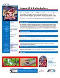 Atlus Disgaea D2 Brighter Dark  PS3 DD-01281-0 Leaflet