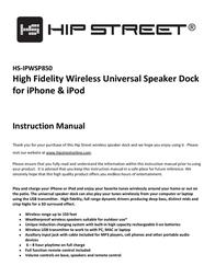 Hip Street HS-IPWSP850 User Manual