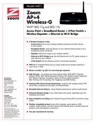 Zoom AP+4 Wireless-G 4401-72-00F Leaflet