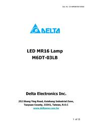 Delta Electronics LED MR16 Lamp M6DT-03LB User Manual