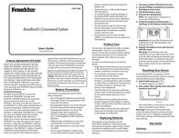Franklin Table Top Game Bradford's Crossword Solver Manuel D'Utilisation