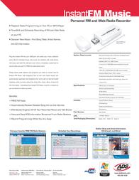 ADS Tech INstant FM music RDX-155-EFG Leaflet