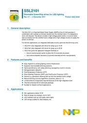 Nxp Semiconductors SSL2101 Evaluation Boards SSL2101T/DB/FBCB120V,598 SSL2101T/DB/FBCB120V,598 Data Sheet