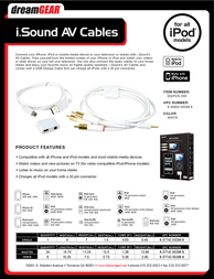 iSound AV Cable DGIPOD-296 Leaflet