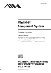 Aiwa JAX-N 55 high power mp3 mini system JAXN55 User Manual