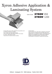 Xyron 1200 User Manual