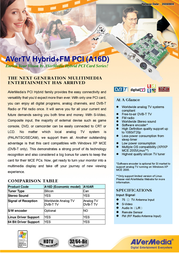 AVerMedia Hybrid analog/digital PCI Card A16D Leaflet