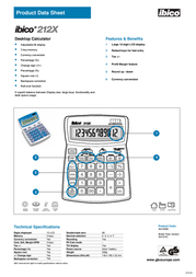 GBC Calculator 212X IB410161 Product Datasheet