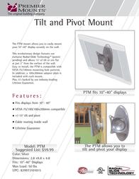 Premier Mounts Universal Tilt/Pivot Mount for LCD (PTM) PTM Leaflet