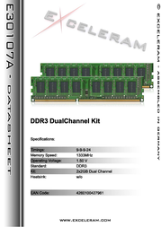 Exceleram 4GB DDR3 PC3-10666 E30107A Leaflet