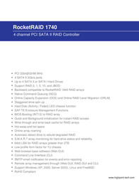 Highpoint RocketRAID 1740 RR1740 Leaflet