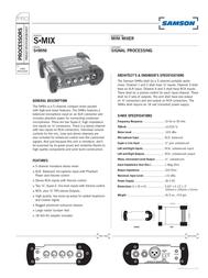 Samson S-mix Mini Mixer SASMIX Leaflet