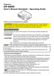 SRS Labs Projector CP-X809 User Manual