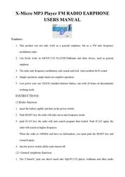X-Micro P3 Player FM RADIO EARPHONE Leaflet