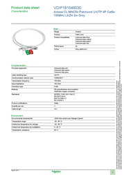 Schneider 3m UTP Cat5e Cable VDIP181546030 Data Sheet