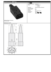 K B IEC connector C14 Plug, straight Total number of pins: 3 10 A Black K & B 42R041311 1 pc(s) 42R041311 Data Sheet